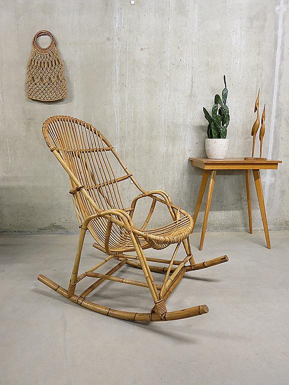 Vintage rotan schommelstoel retro, rocking chair rattan bamboo vintage ...: bestwelhip.nl/vintage-bamboe-schommelstoel-rocking-chair