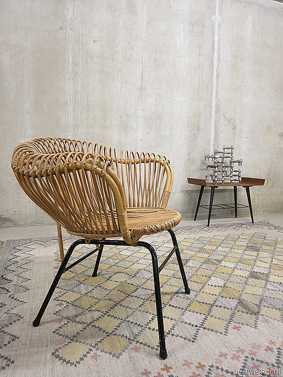 Mid century dutch design rotan chairs rohe noordwolde for Dutch design stoel