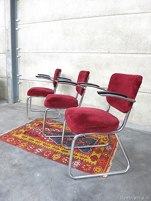 Industrial tube armchair vintage buisframe lounge stoel for Bauhaus stoel vintage