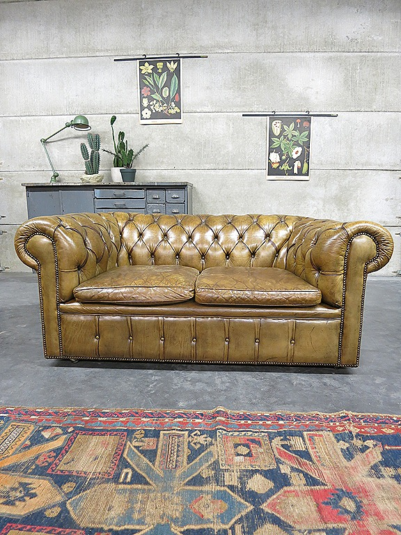 Authentieke Vintage Leren Chesterfield Bank Sofa Bestwelhip