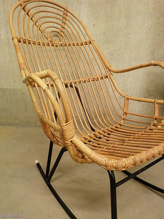 Vintage rotan schommelstoel rohe bestwelhip - Woonkamer rotan voor veranda ...