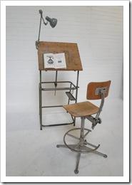 industriele vintage tekentafel, vintage drawing table industrial
