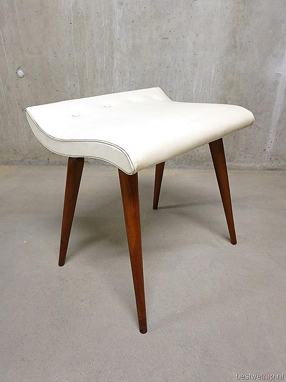 Retro Design Poef.Vintage Design Hocker Voetenbank Poef Wave Deense Stijl