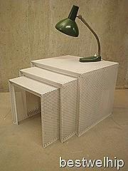 miniset vintage bijzettafel nesting table Pilastro stijl