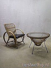 vintage rotal stoel Rohe, vintage rattan chair Rohe