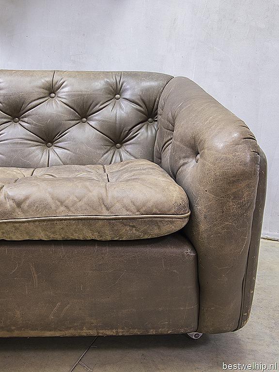 Gecapitonneerde Leren Bank.Geoffrey Harcourt Vintage Leather Sofa Artifort Vintage Leren