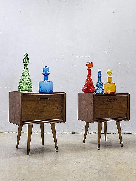 Mid century design night stands cabinet danish deense for Design retro esstisch scandinavia