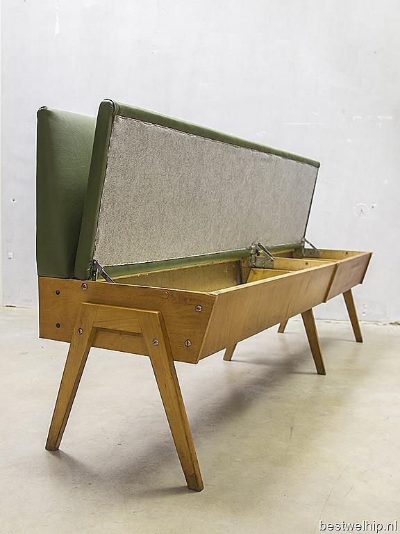 vintage design eettafel bank industrieel, vintage sofa mid century