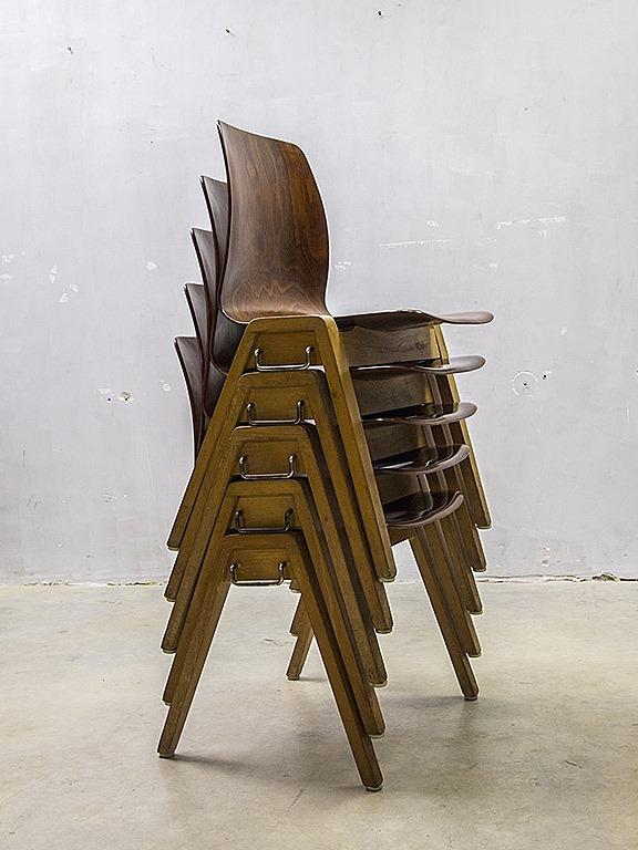 Stapelbare Houten Stoelen.Vintage Design Stacking Chairs Dining Chairs Vintage Houten