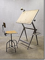 Industriële vintage krukken barkruk 'Bozo' stool Bauhaus