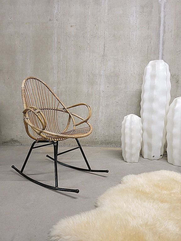 vintage rotan schommelstoel rocking chair rohe | bestwelhip, Deco ideeën