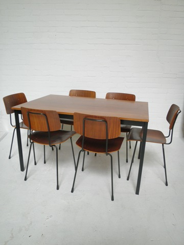 Vintage design eetkamer stoelen set Gispen   Bestwelhip