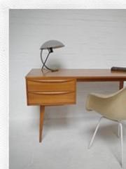 vintage design bureau scandinavisch deense stijl, vintage design desk wood