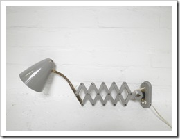 schaarlamp vintage, industriele wandlamp, wall light 50's